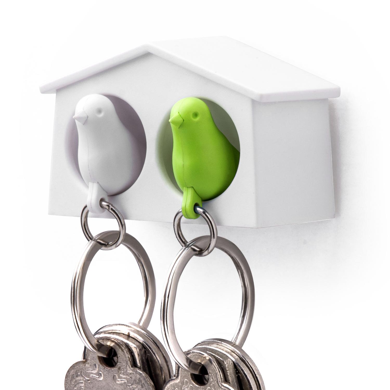 Mini Sparrow Duo Sleutelhanger - Wit/Groen