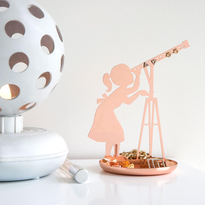 Meisje Met Telescoop Sieradenhouder - Koper - Kikkerland