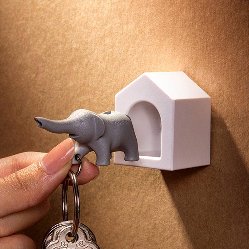 Qualy Elephant Sleutelhanger - Grijs