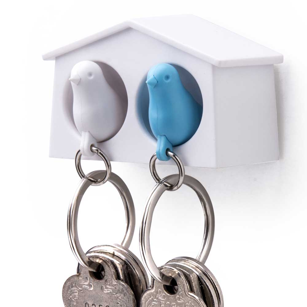 Mini Sparrow Duo Sleutelhanger - Wit/Blauw - Qualy