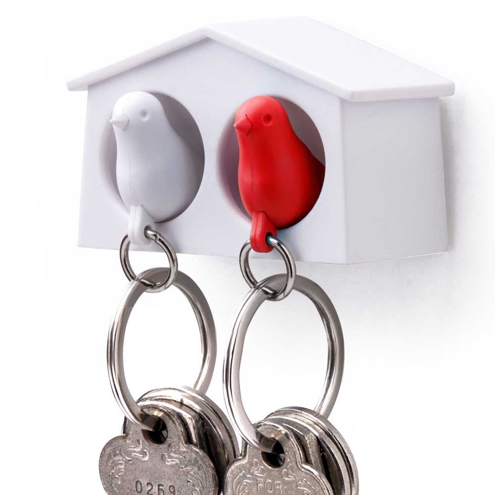 Mini Sparrow Duo Sleutelhanger - Wit/Rood - Qualy
