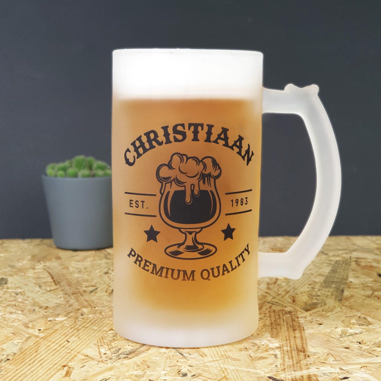 Gepersonaliseerde bierpul Naam badge luxe