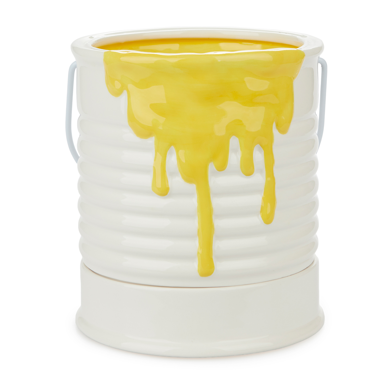 Verfpot Bloempot - Geel/groot